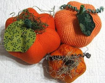 pumpkins, fabric pumpkins, Fall wedding decor,nursery decor, centerpiece - Formal Fun - set of 3 p U m P k I nS with 1 set of bling - 100