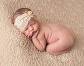 Addelyn - Cream Ivory Beige Lace Headband -  Vintage Style - Flower Rosebud Bow - Girls Newborns Baby Infant Adults