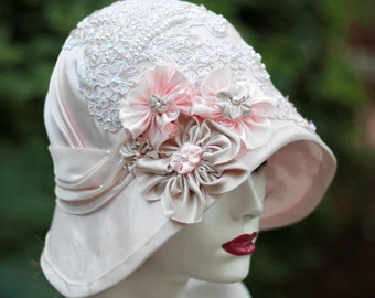 Wedding Hat, Downton Abbey Hat, 20s Style Wedding Hat,Fancy Hat, Lace Hat, Hat Flowers,Unique Hat,Pink Hat,Sun Hat, Wide Brim Hat, Derby Hat