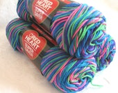 Red Heart Super Saver yarn  BRIGHT MIX, neon style yarn,  worsted weight, pink green blue, rainbow bright
