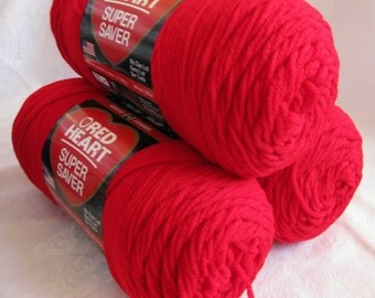 Red Heart Super Saver yarn, CHERRY RED,  worsted weight yarn,  bright red, Economy size, 319