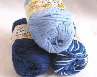 100% cotton yarn, BLUE TONES color story,  Navy blue cotton yarn, cornflower blue cotton, worsted weight, Creme de la Creme, 3 balls