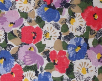 Vintage Fabric Red Poppies Fabric Remnant 11 x 42 inch
