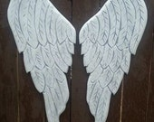 Wood Angel Wings in Erica 21x9 inches in Distressed Grey and White with a Pearl Sheen