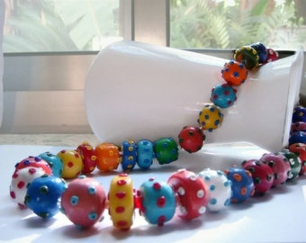 Rainbow Color Mix  Dots and Beads Necklace  Multicolor Jewelry red orange yellow green turquoise blue purple