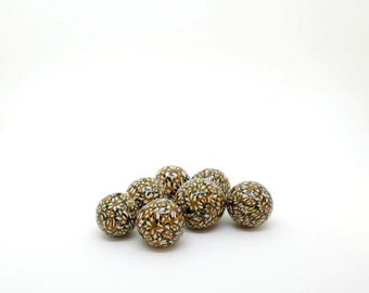 Brown and Green Beads, Polymer Clay Beads, Kaleidoscope Polymer Clay  Beads in Olive Green Brown White and Black ,A Set of 7 Beads