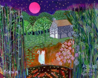 At NightIn The Garden. A ltd edition, numbered and signed A4 print from an Original Painting by Richard Friend