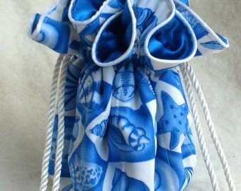 On Sale! Seashells Jewelry Pouch in blue and white, Travel Organizer, Bag, tote