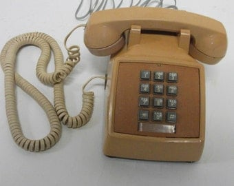 60s Vintage Peach Desk  Telephone Phone