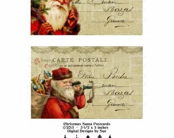 Instant Download  - Christmas Santa Postcards  - High quality digital full size sheet - Printable Download -  Hang Tags