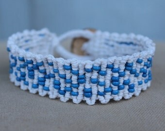Snowy Winter Beaded Macrame Hemp Bracelet with Coconut Disc Closure - Natural Bohemian Hippie