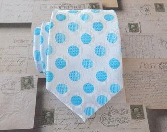 Mens Ties. Necktie White Blue Dots Mens Tie