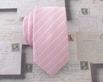 Necktie Pink and White Stripes Skinny Tie