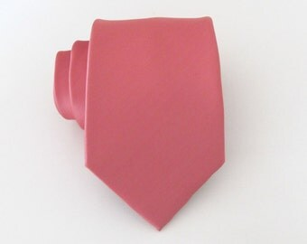 Mens Coral Silk Tie With Matching Pocket Square Option