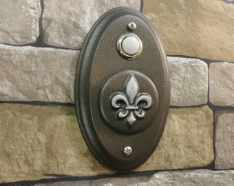 New Orleans Mardi Gras Fleur De Lis Wired Doorbell French Oil Rubbed Bronze and Platinum