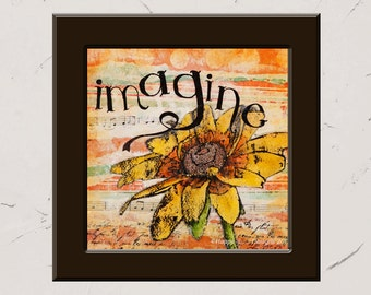 Imagine, 8x8 Paper Print, Inspirational Mixed Media Word Art, Collage