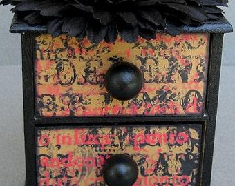 Red and Black Harlequin Decorative Drawer Jewelry Box, Trinket Box