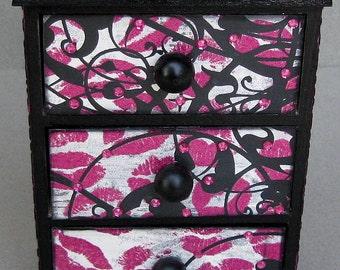 Whimsical Pink Black Multi Print Keepsake Decorative Jewelry Box Chest