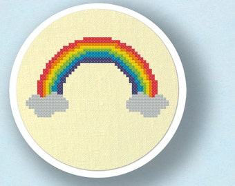 Rainbow. Modern Simple Colorful Cute Counted Cross Stitch PDF Pattern Instant Download