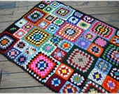 Afghan Throw Babette Blanket Multi Color Mixed Size Crochet Granny Squares