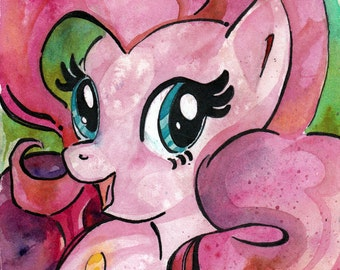 Pinkie Pie Print of Watercolor Painting by Jen Tracy - My Little Pony Friendship is Magic - Perky Pie