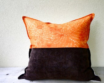 Organic cotton canvas pillow cover -orange brown cream cushion cover - organic cotton canvas pillow case - romantic country home decor