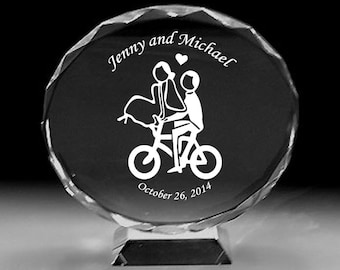 Bicycle Bicyclist  lover cyclist carry bride outdoor Wedding Cake topper top crystal engraved