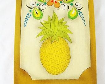 vintage pineapple mexican painting pina tonala folk art