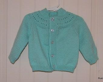 Child's Hand Knit Mint Green Cardigan Sweater