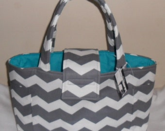 Large Gray Chevron and Teal Diaper Bag Tote
