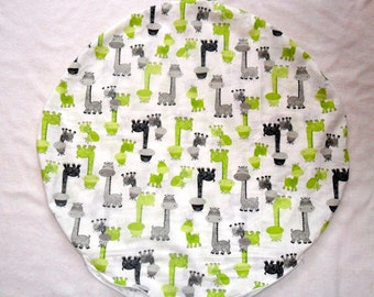 Giraffe and Lime Green Minky Dot Pillow Cover Fits Boppy Newborn Lounger