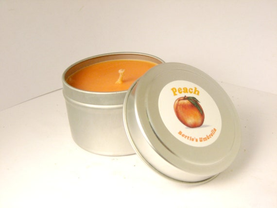 Peach, Scented Candle, Soy Candles, Peaches, 4 oz candle in tin, Fruity Summer Candle