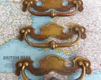 SALE! 3 wide scalloped vintage brass metal pull handles