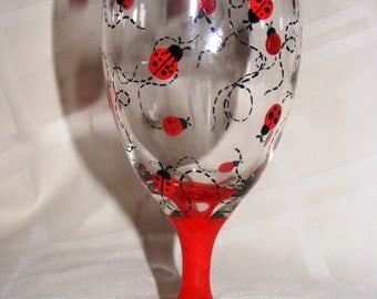 Hand painted ladybug glass goblet