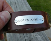 Molon Labe - Hand Stamped - Leather Cuff Bracelet - Second Amendment - Come And Take It - Gun
