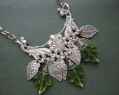 Leaves Necklace, Woodland Necklace, OOAK, One of a Kind, Nature Inspired, Green Leaves, Silver, Leaf, Autumn Jewelry, Nature Necklace