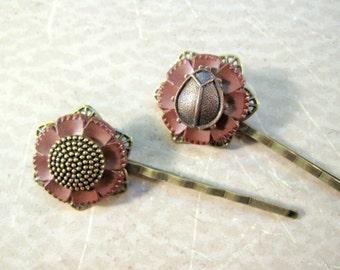 Button Bobby Pins, Ladybug, Bohemian, Boho Hair Pins, Flower, Mocha, Woodland Wedding, Button Hair Clips, Bug, Nature, Button