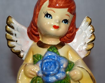 Vintage Girl Angel June Flower Yellow Dress Red Hair Paper Mache - Birthday Angel Girl