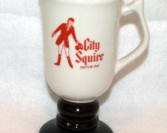 Hall China Tall Footed Mug Advertising City Squire Motor Inn Loews Hotels 1273 VintageIrish Coffee