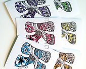 Note Cards Set of 6 Set Stationery / Notecards / Monogram / Personalized Notecards Doodle Art Drawing Letter K