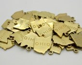 Ohio State Charm, Raw Brass, 5 pieces, Made in the USA
