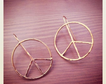 Peace Sign Earrings - Large Rustic Hoops - Sterling Silver or Gold Fill - Jennifer Cervelli Jewelry - Texture Hammered Hoops