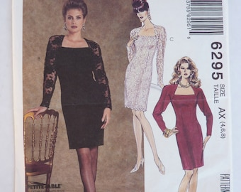 1990s UNCUT McCall's Sewing Pattern 6295 Misses' Cocktail Evening Fitted Knee Length Dress w/ Darts and Long Raglan Sleeves Size 4,6,8