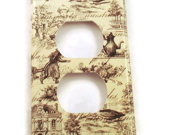 Light Switch Cover Outlet Wall Decor Light Switchplate Switch Plate in Toile  (178O)