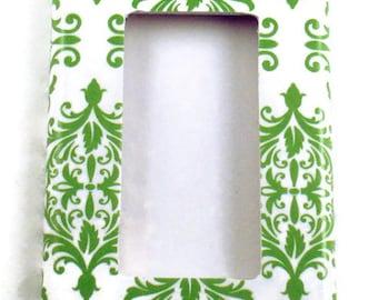 Wall Decor Light Switch Cover   Green Damask  Rocker  Plate (204R)