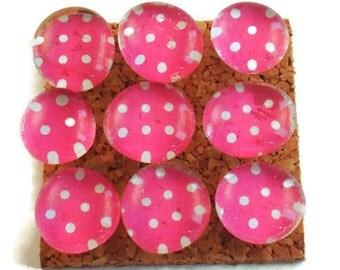 Decorative Funky Push Pins  Thumb Tacks Cork Board Pins  Pink Polka Dots (P101)