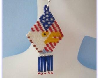 Bald Eagle Earrings on Flag,  Blue dangle Fringe,  Patriotic Earrings, Dangle Earrings, Chandelier, Red White Blue Flag Earrings,  Item #987