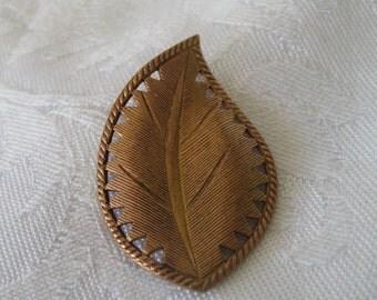 Large Realistic Copper Metal Leaf Button