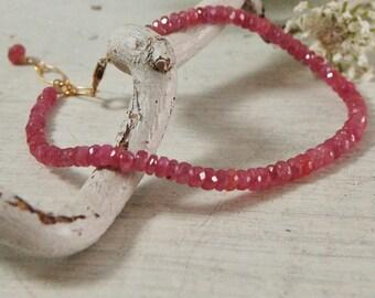 AA Natural Pink Sapphire Bracelet 14ktGF Gold Filled Tennis Bracelet