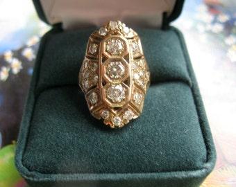 Stunning Diamond Ring Vintage Estate 2 CTW 14k Yellow Gold